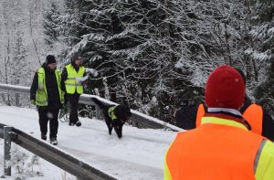 Vapepan koirapartio Tarmon johdolla etsimässä kadonnutta junamatkustajaa. Kuva: Pohjois-Karjalan pelastuslaitos / Raide2016